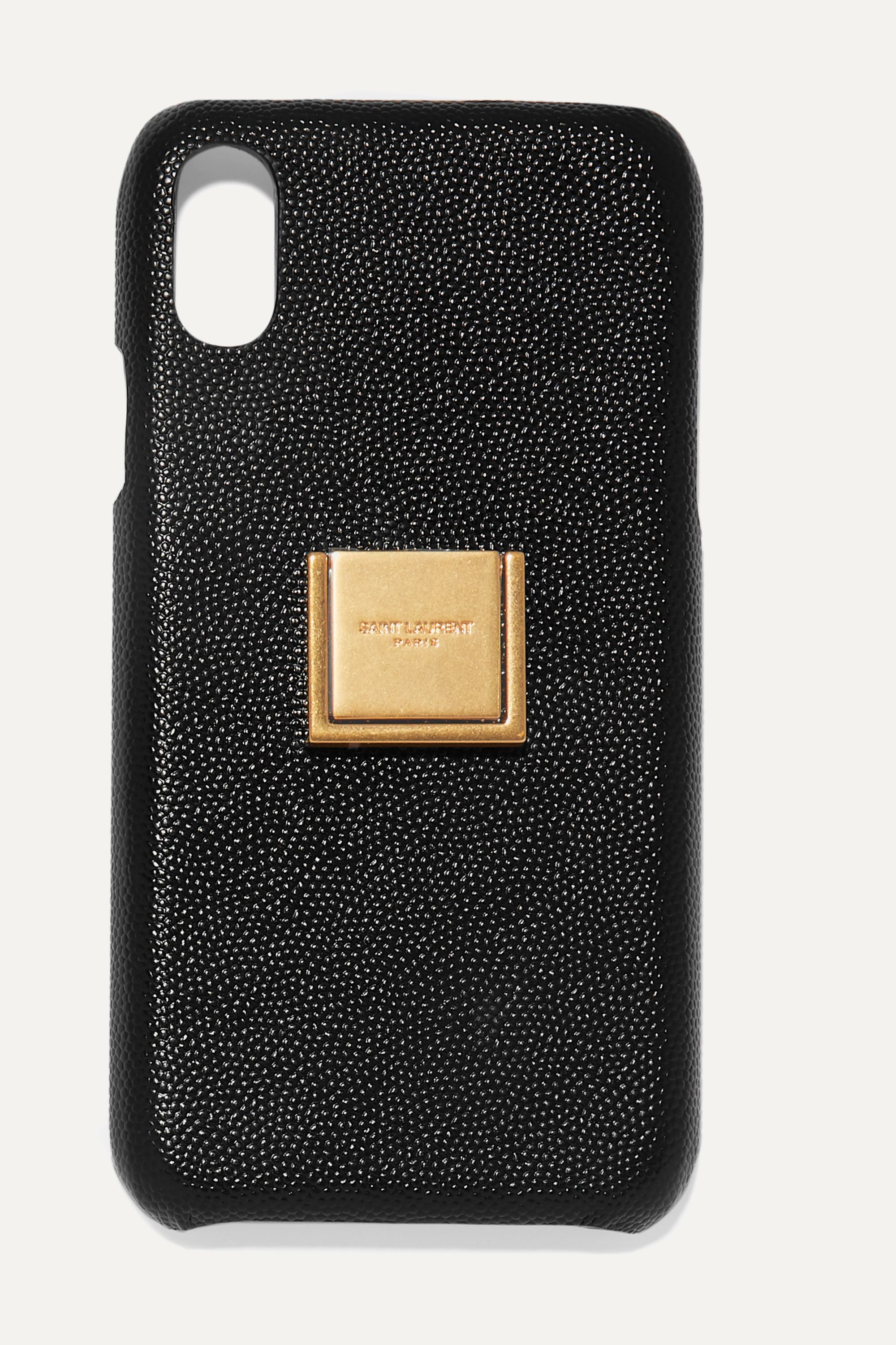 SAINT LAURENT Embellished textured-leather iPhone XR case