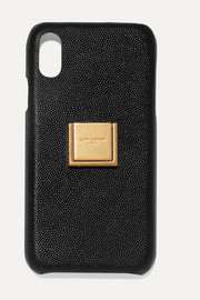 Embellished textured-leather iPhone XR case