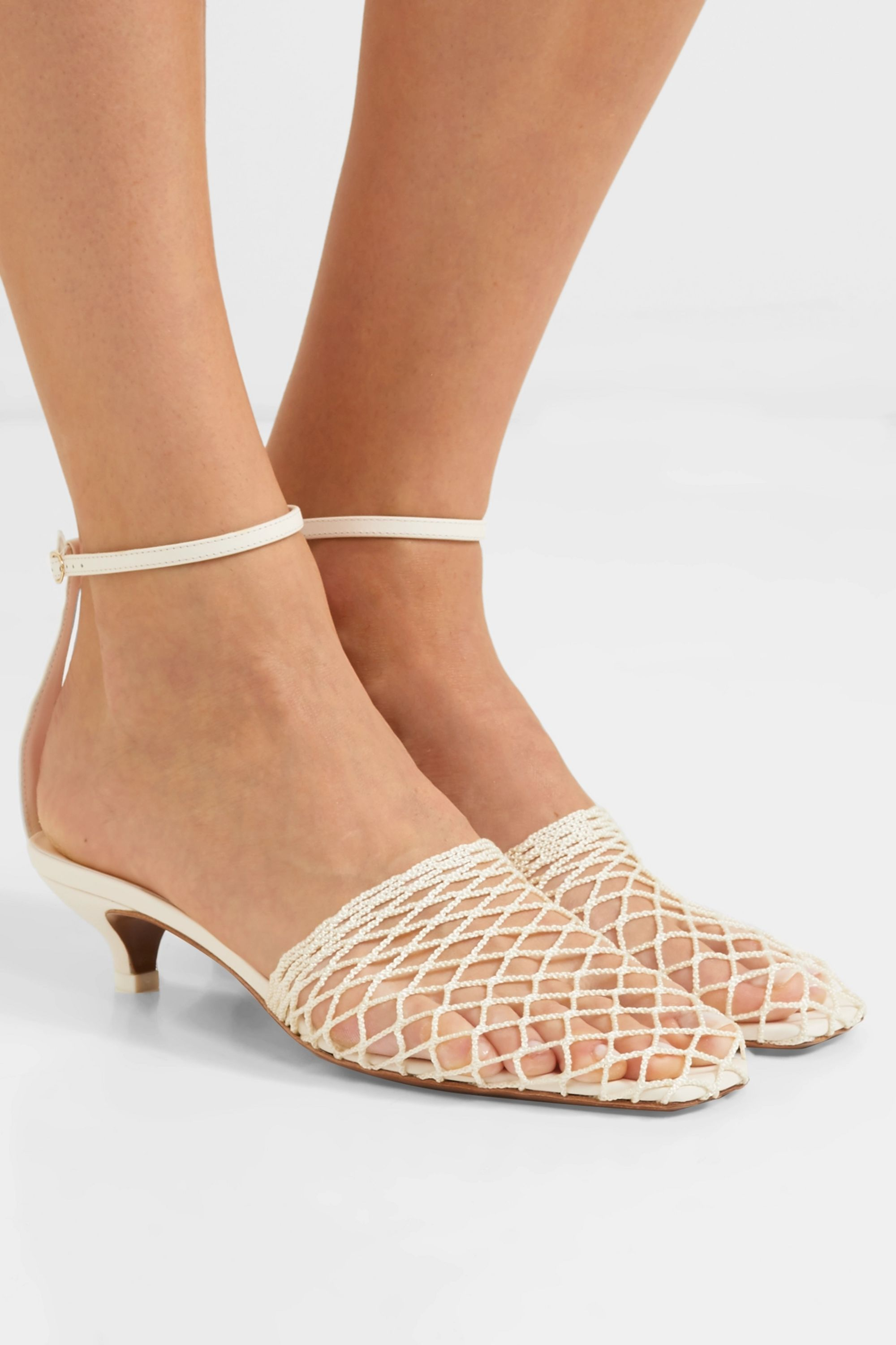 Neous Acantho crochet and leather pumps