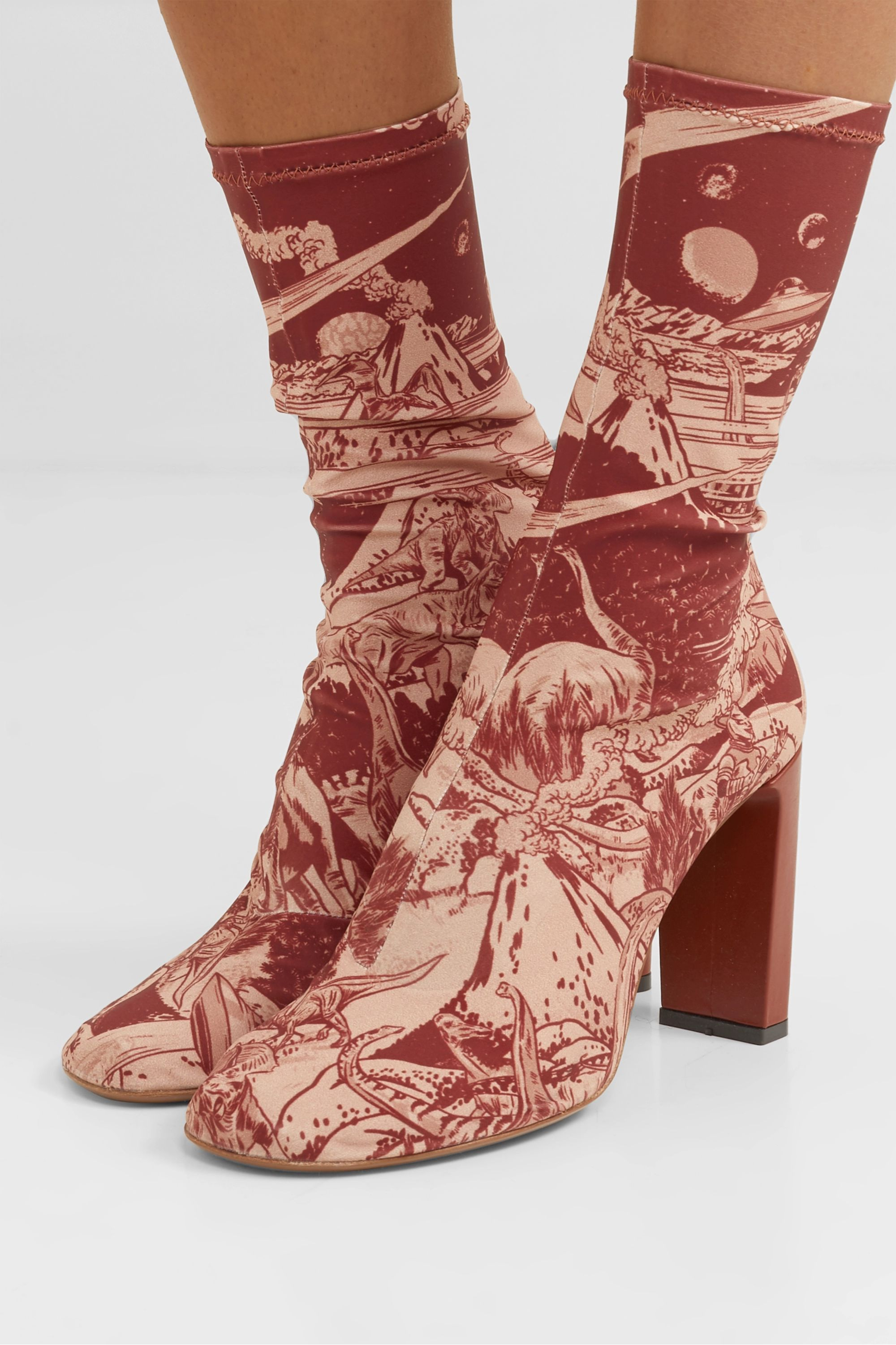 Neous + Timba Smits Laeila printed stretch-jersey sock boots