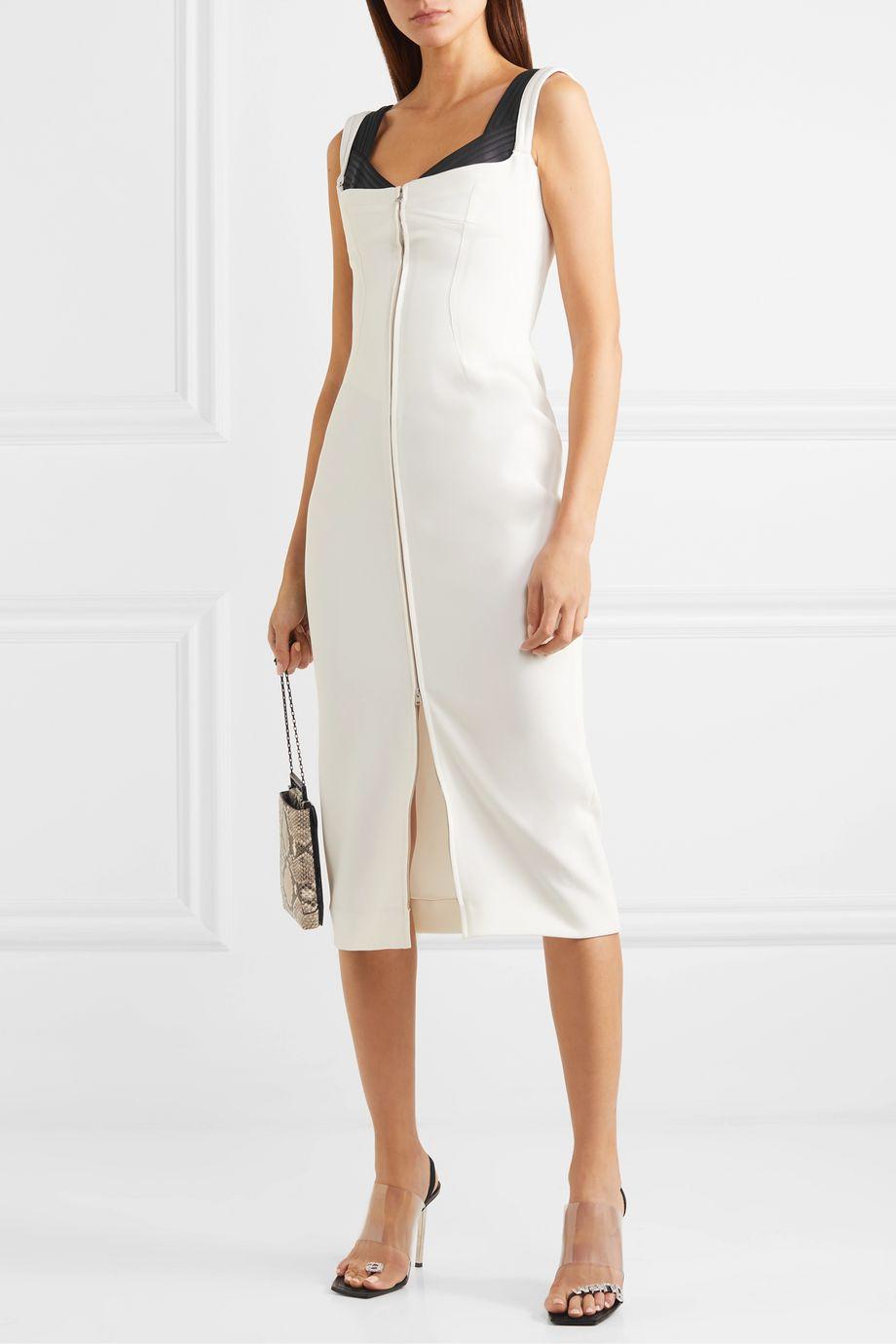 Mugler Two-tone layered crepe midi dress