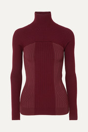Ribbed two-tone wool-blend turtleneck sweater