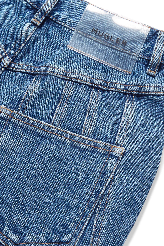 Mugler Frayed paneled high-rise straight-leg jeans