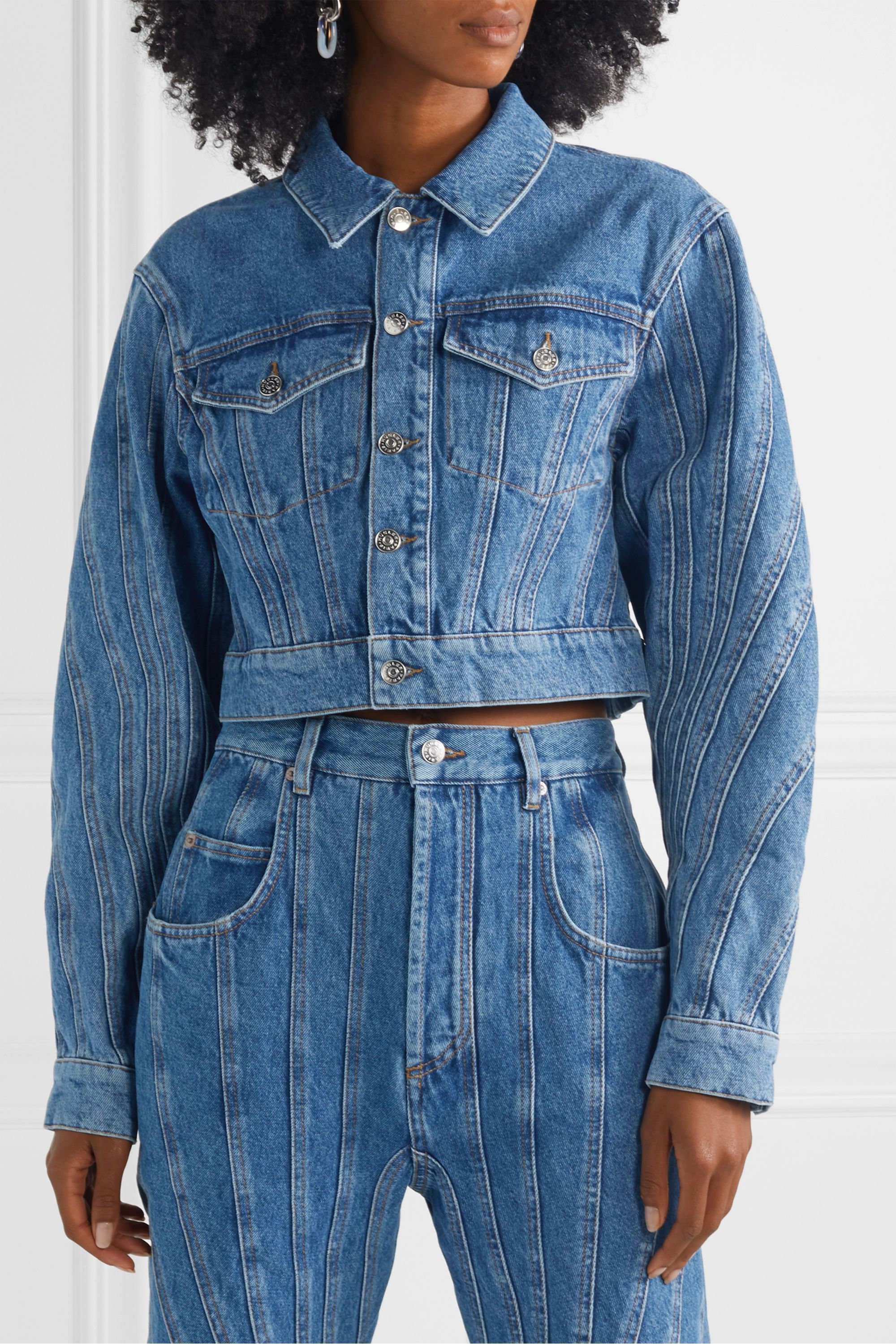 Mugler Cropped paneled denim jacket
