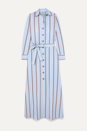 Evi Grintela Valerie belted striped cotton-poplin maxi dress