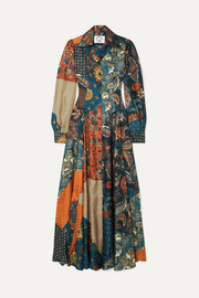 Evanthia printed silk-twill maxi dress