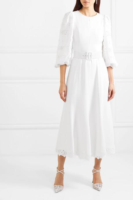 Belted lace-trimmed appliquéd crepe midi dress
