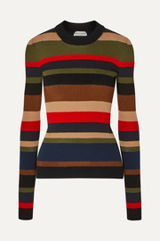 Sonia Rykiel Striped ribbed cotton and cashmere-blend sweater
