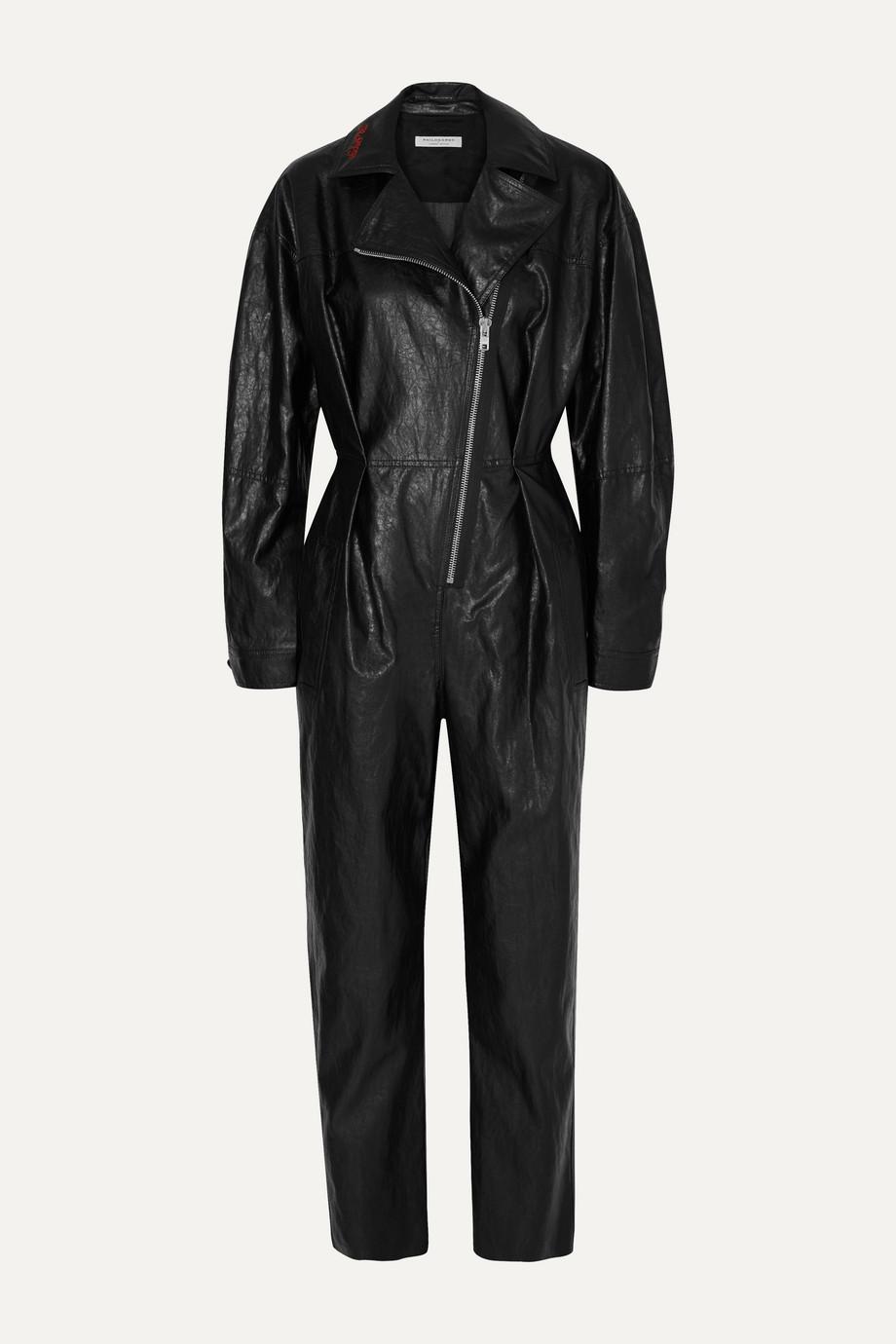 Philosophy di Lorenzo Serafini Combi-pantalon en cuir synthétique froissé à broderies