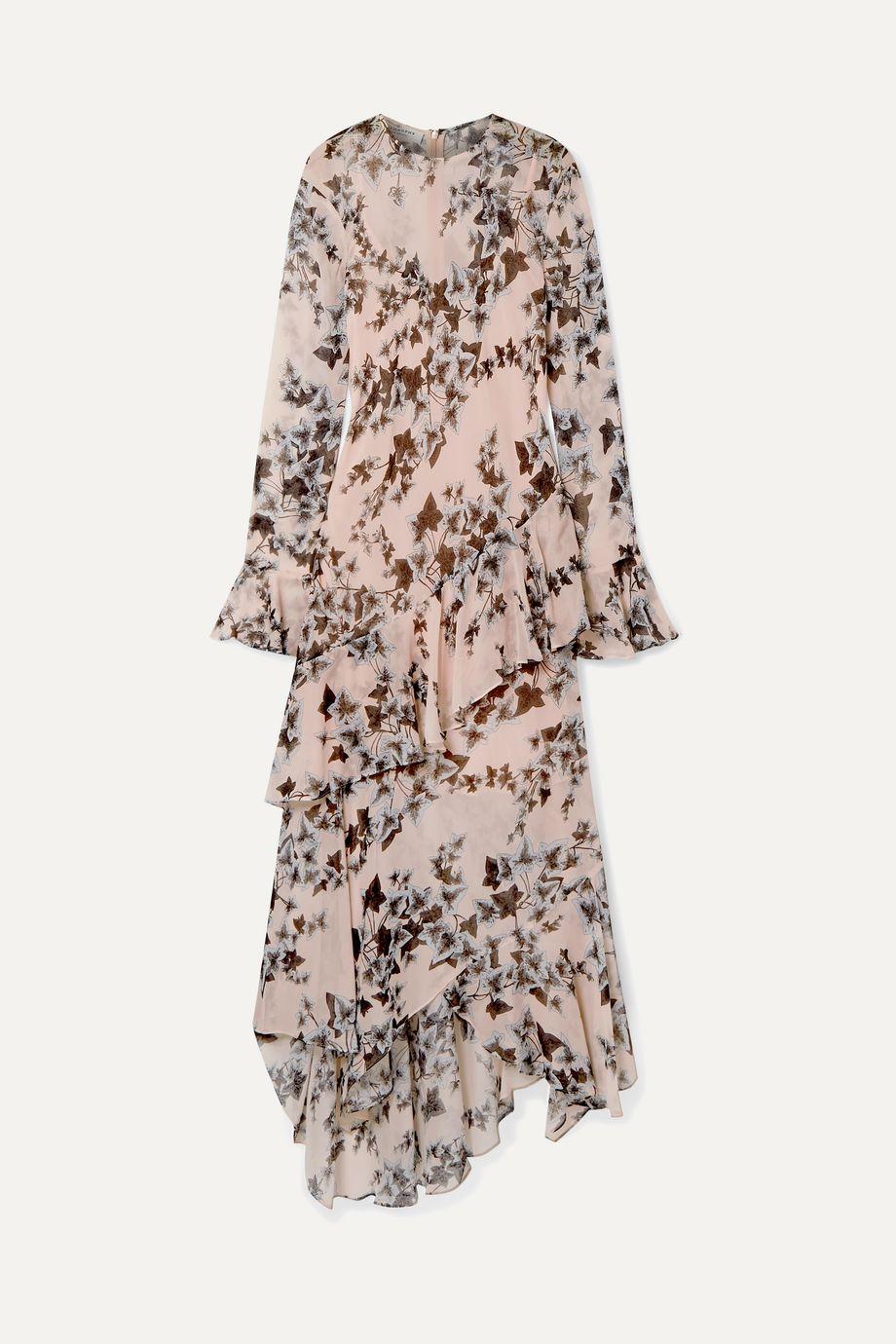 Philosophy di Lorenzo Serafini Ruffled floral-print crepe de chine midi dress