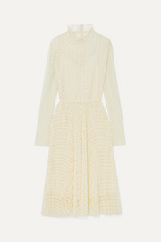 Open-knit turtleneck midi dress