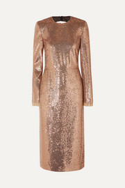 Philosophy di Lorenzo Serafini Open-back lace-trimmed sequined jersey dress