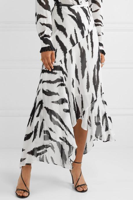 Asymmetric zebra-print crepe de chine midi skirt
