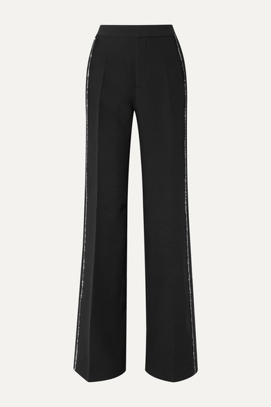 Crystal Embellished Crepe Wide Leg Pants by Philosophy Di Lorenzo Serafini