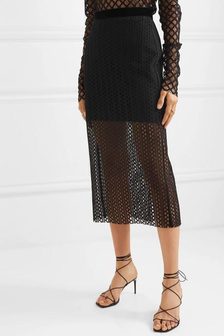 Velvet-trimmed lace midi skirt