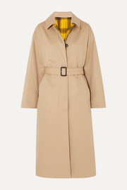 Amulree reversible cotton-gabardine and checked wool coat