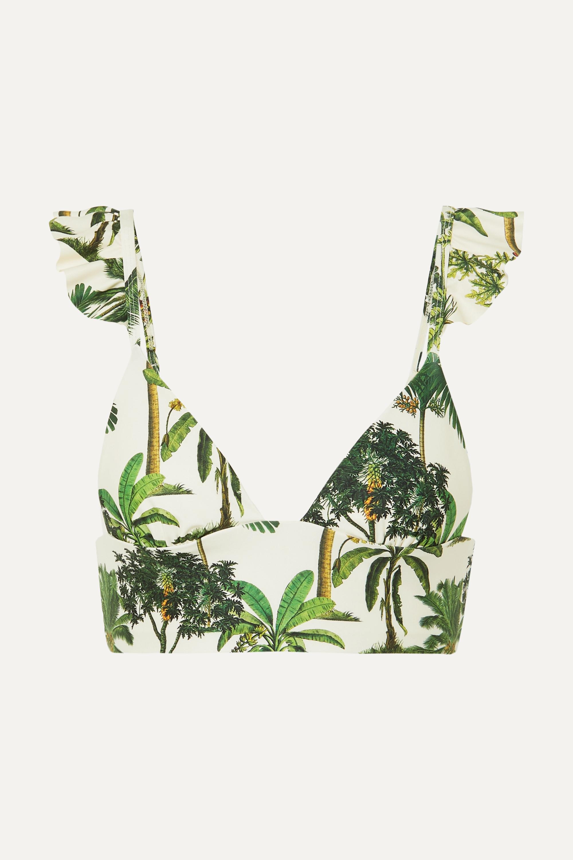 Agua by Agua Bendita Geranium ruffled printed bikini top