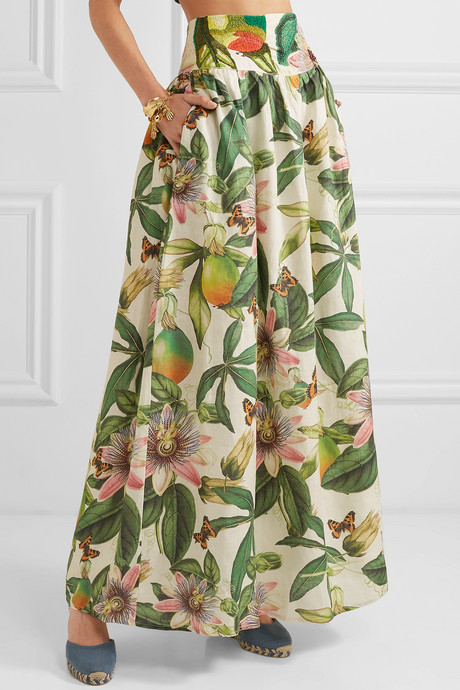 Tropic printed embroidered cotton maxi skirt
