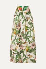 Agua by Agua Bendita Tropic printed embroidered cotton maxi skirt