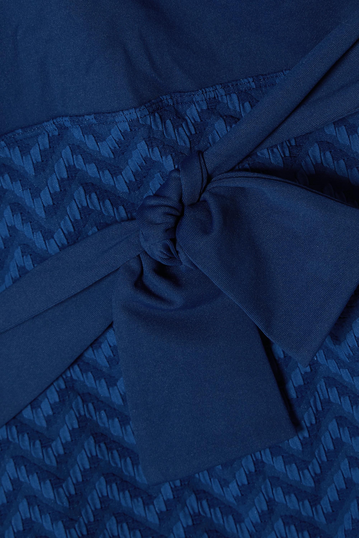Eres Belted paneled seersucker swimsuit