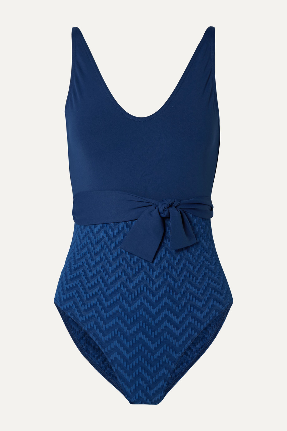 Eres Belted paneled seersucker swimsuit