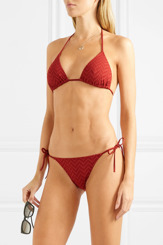 Eres Veston seersucker triangle bikini top