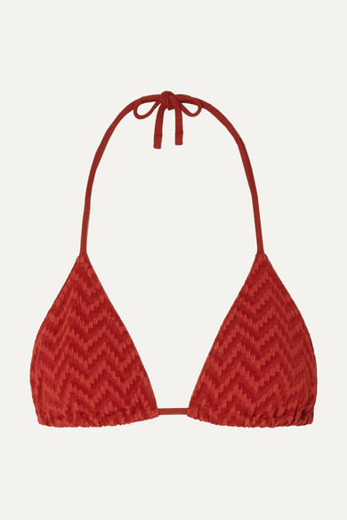 Eres - Veston 泡泡纱三角比基尼上装 - 红色 - FR40
