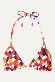 Mosaic Box printed triangle bikini top
