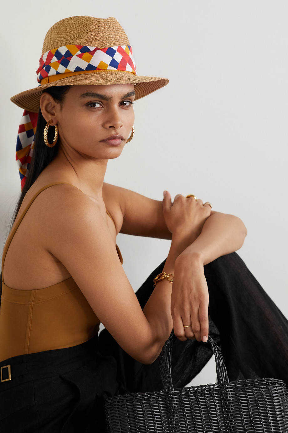 Eres Anita printed silk twill-trimmed paper fedora