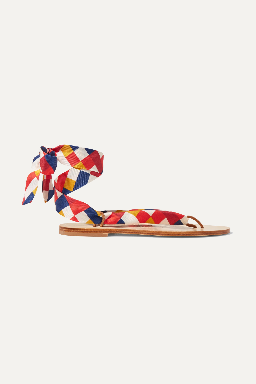 Eres Mosaic Nupie suede-trimmed printed silk-twill sandals