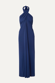 Caro convertible stretch-jersey halterneck midi dress