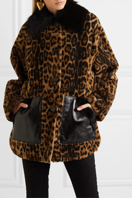 Leather-trimmed leopard-print shearling coat