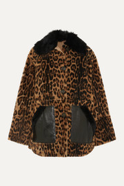 Yves Salomon Leather-trimmed leopard-print shearling coat