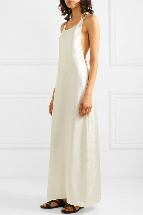 Embellished silk-satin maxi dress
