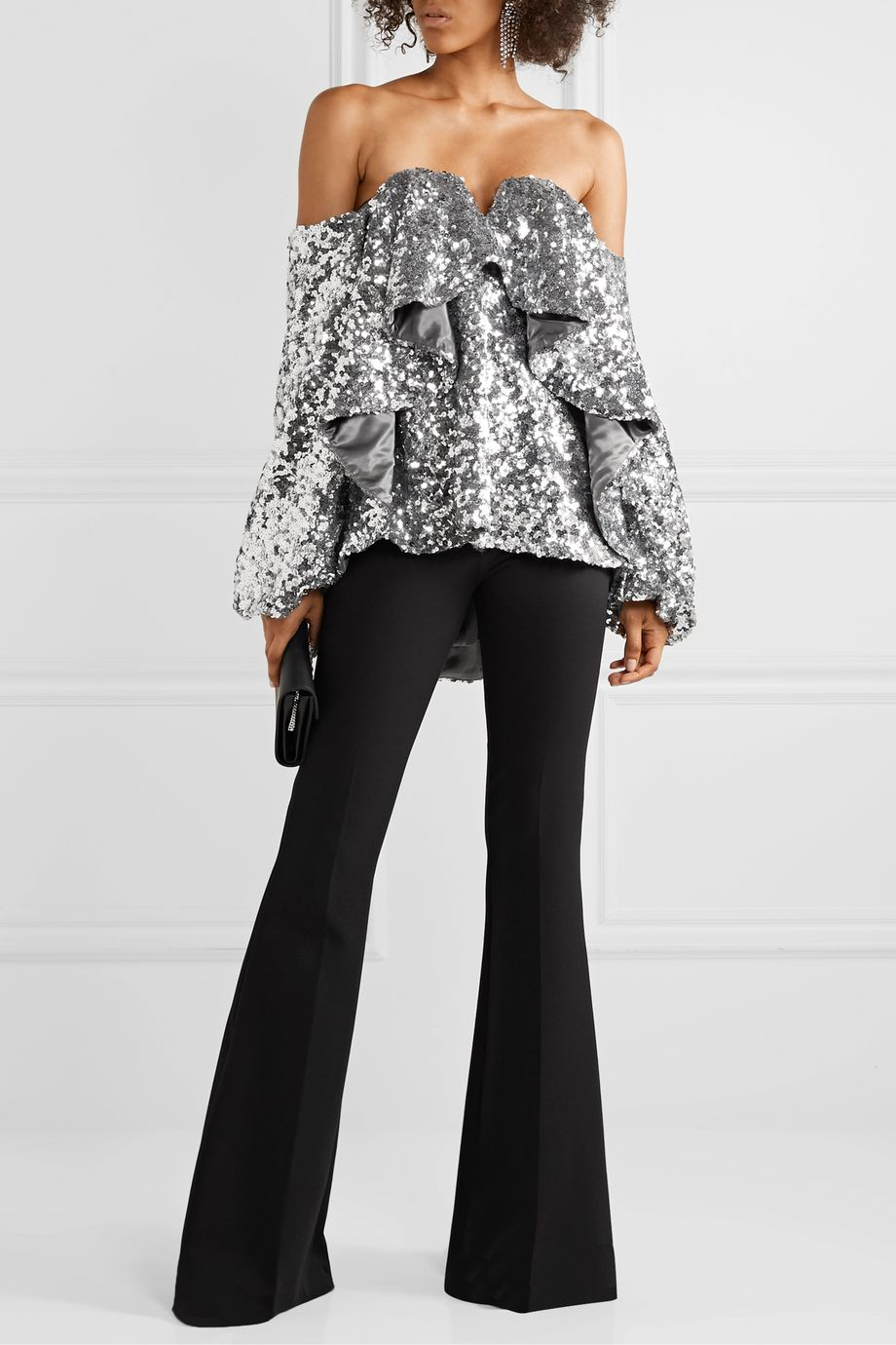Halpern Off-the-shoulder ruffled sequined tulle top
