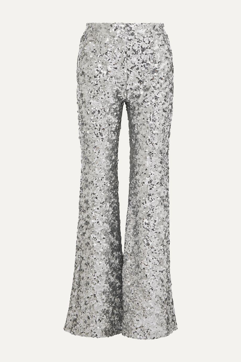 Halpern Sequined tulle flared pants