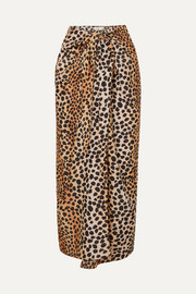 RIXO Isla leopard-print cotton and silk-blend pareo