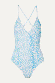 RIXO Nes wrap-effect leopard-print swimsuit