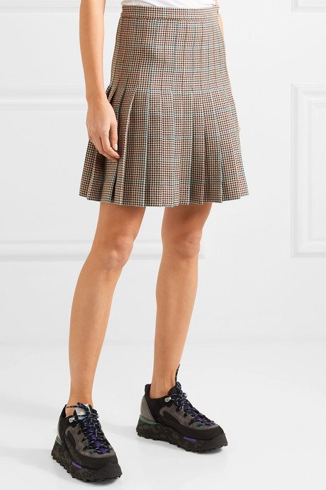 Pleated checked wool mini skirt
