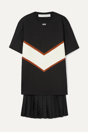 Off-White Panelled cotton-jersey and satin mini dress
