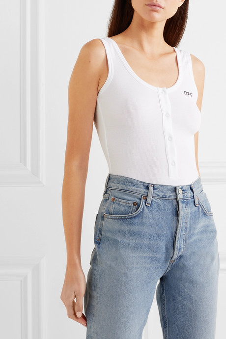 Open-back printed ribbed cotton-blend jersey bodysuit