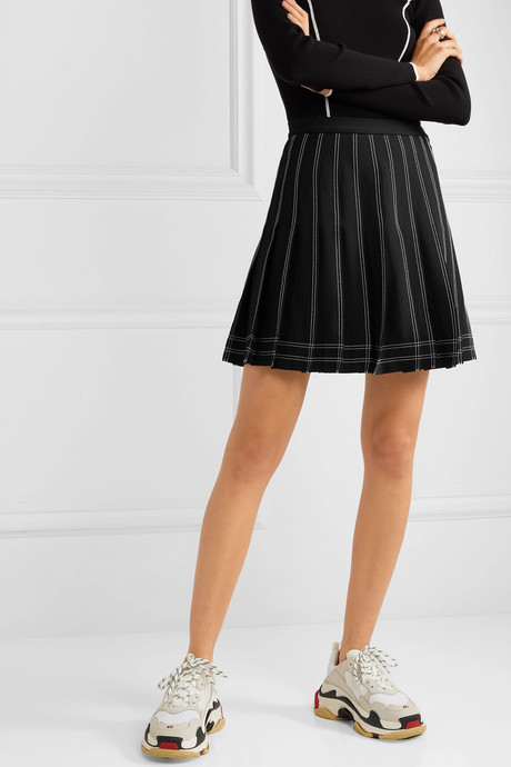 Pleated twill mini skirt