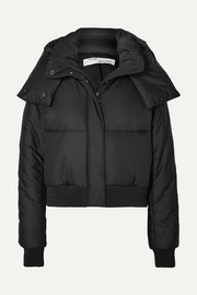 Off-White Appliquéd quilted shell hooded jacket
