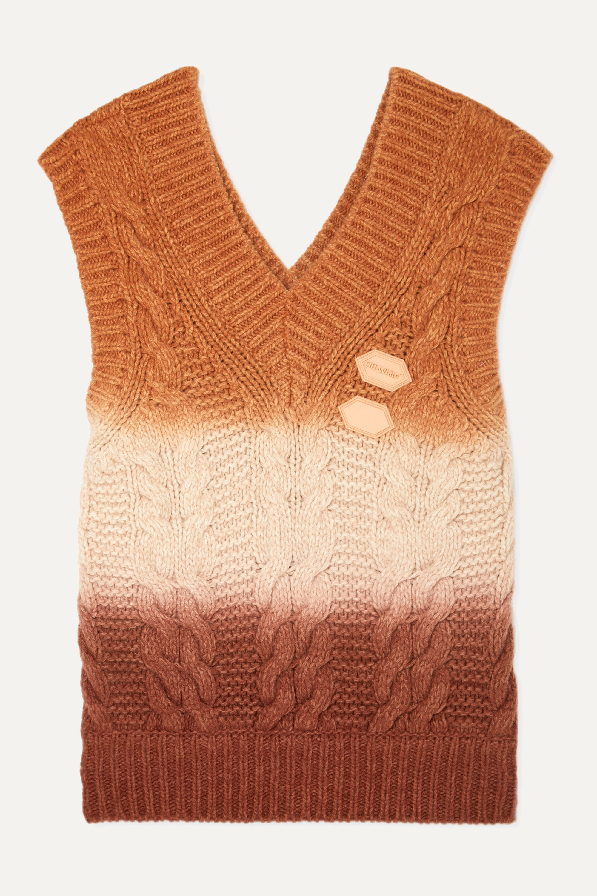 Off-White Appliquéd ombré cable-knit wool and cashmere-blend vest