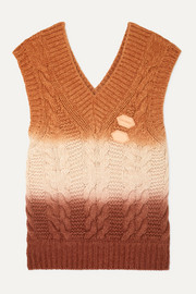 Appliquéd ombré cable-knit wool and cashmere-blend vest