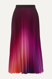 Mary Katrantzou Pleated ombré crepe de chine midi skirt