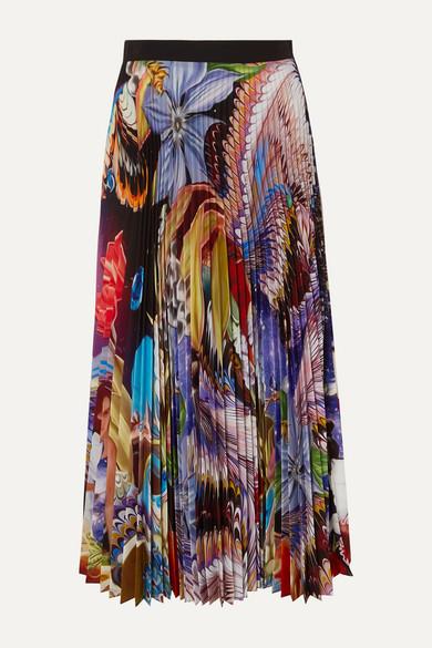 Mary Katrantzou Skirts Pleated floral-print crepe de chine midi skirt