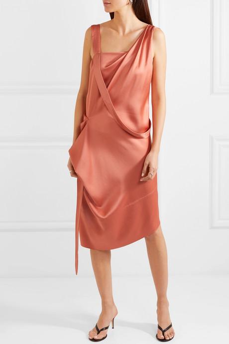 Thea draped asymmetric satin dress