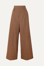 Puppytooth tweed wide-leg pants