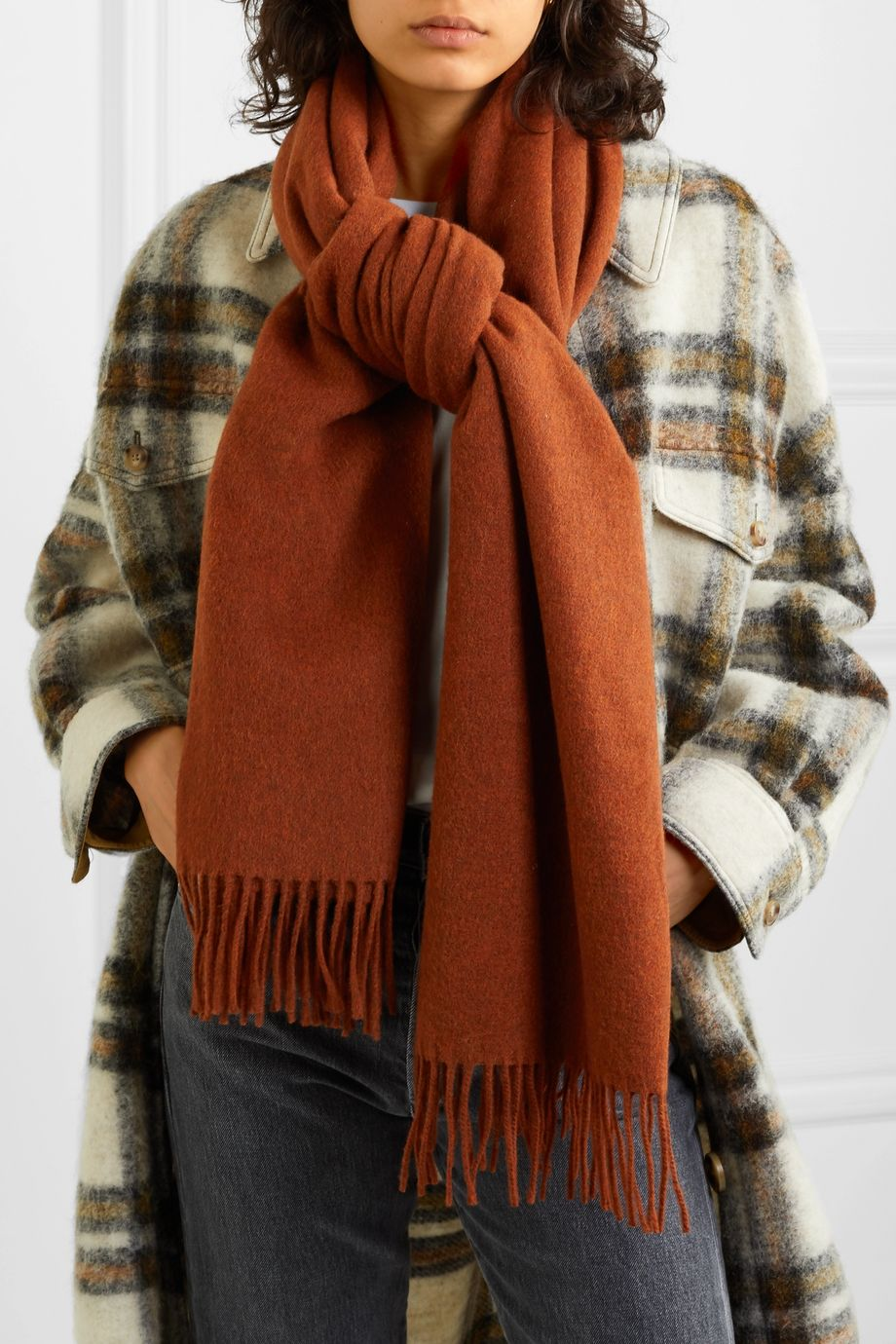 Acne Studios Fringed mélange wool scarf